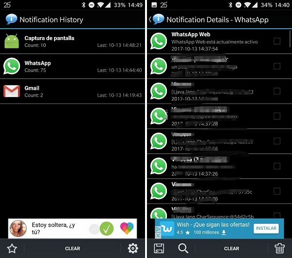 notification history interfaz