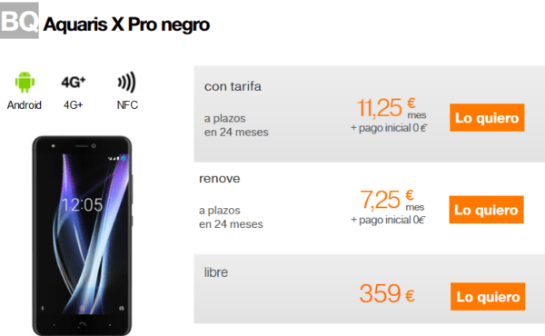 bq aquaris x pro orange