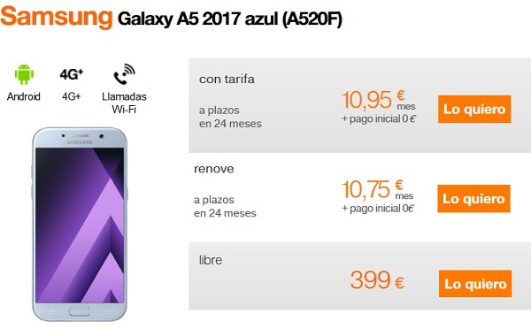 samsung galaxy a5 orange