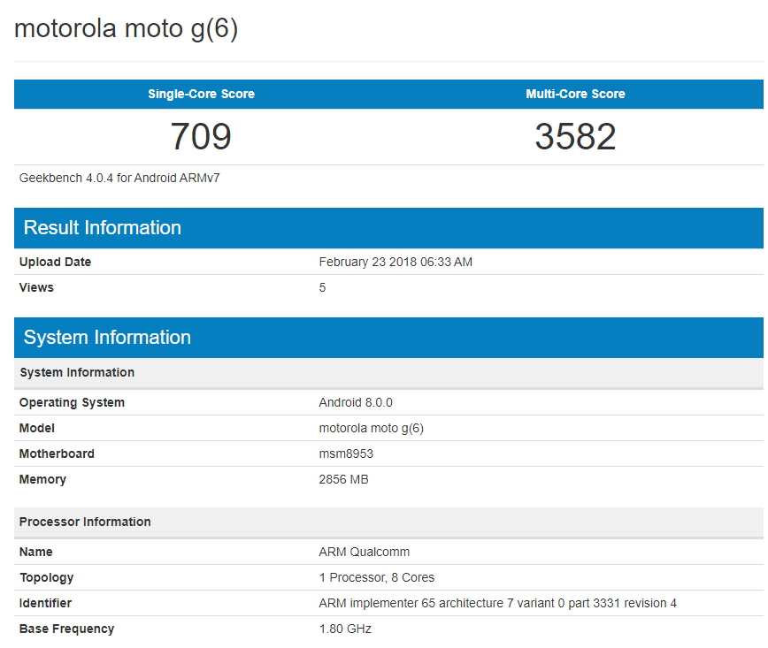 Motorola Moto™ G6 Benchmark