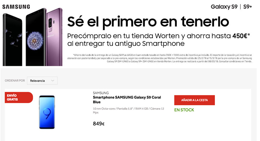 dónde reservar y comprar el Samsung™ Galaxy™ S9 Worten