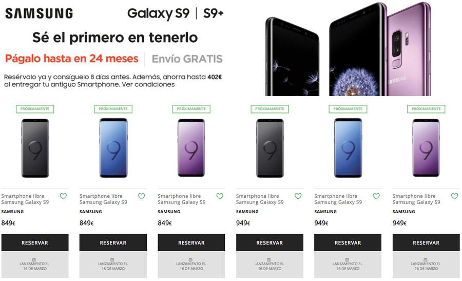 dónde reservar y comprar el Samsung™ Galaxy™ S9 el corte inglés