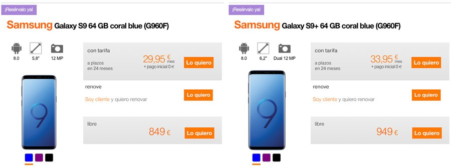 dónde reservar y comprar el Samsung Galaxy S9 Orange