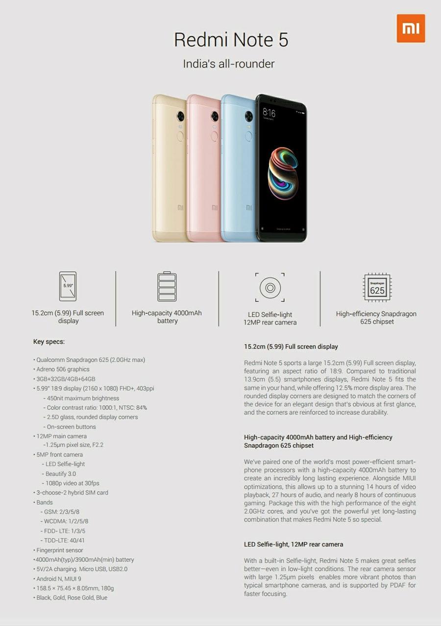 filtradas especificaciones Xiaomi Redmi Note 5 y Redmi Note 5 Pro hoja Redmi Note 5