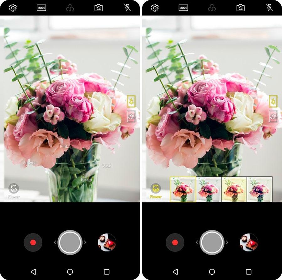 funciones de Inteligencia Artificial de la cámara del LG V30s Vision AI