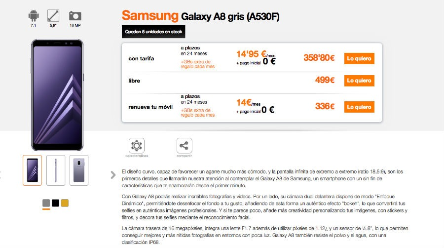 Samsung Galaxy™ A8 Orange