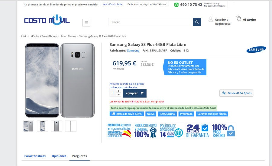 Precio y d nde comprar el samsung galaxy s8 tras la for Financiar movil libre