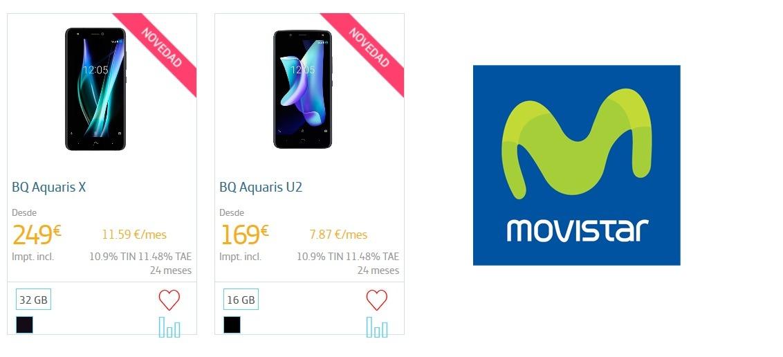 Precios de BQ Aquaris X y BQ Aquaris U con Movistar