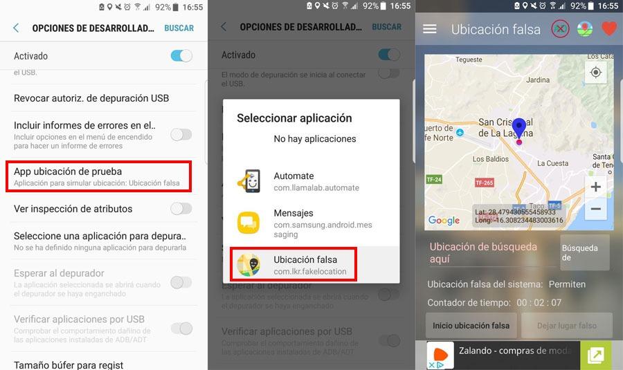 Configurar aplicación falsa en los ajustes de Android