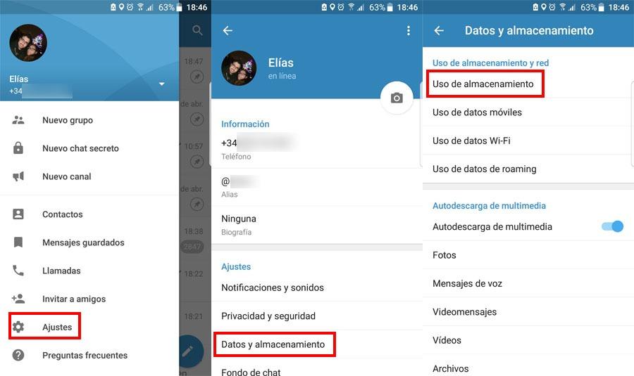 Ajustes de Telegram desde donde puedes ganar espacio borrando archivos