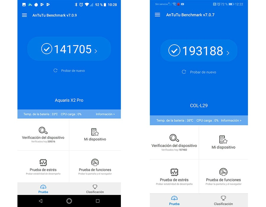 comparativa BQ Aquaris X2 Pro vs Honor 10 potencia