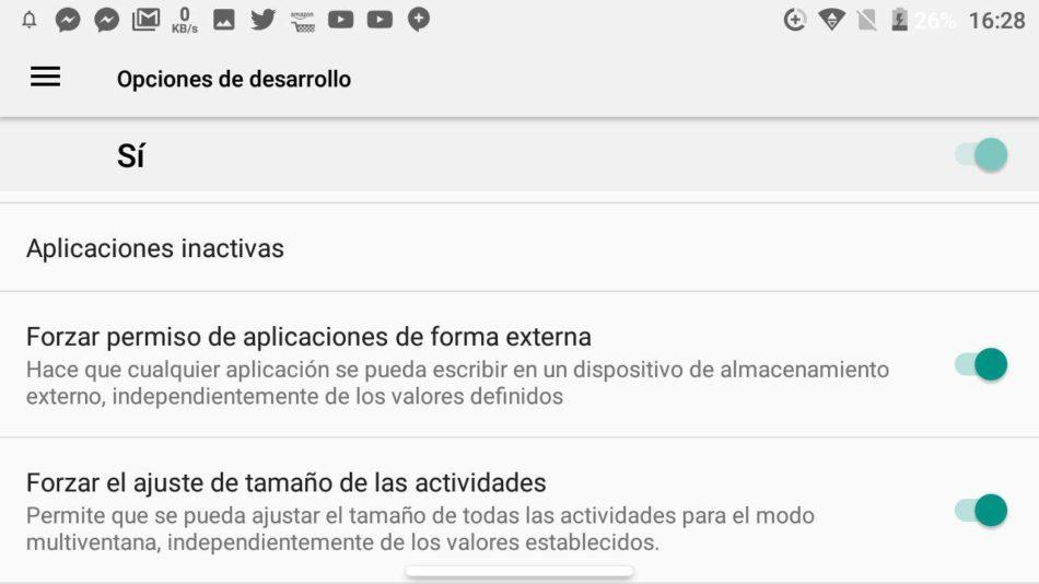 opciones de desarrollo android 1