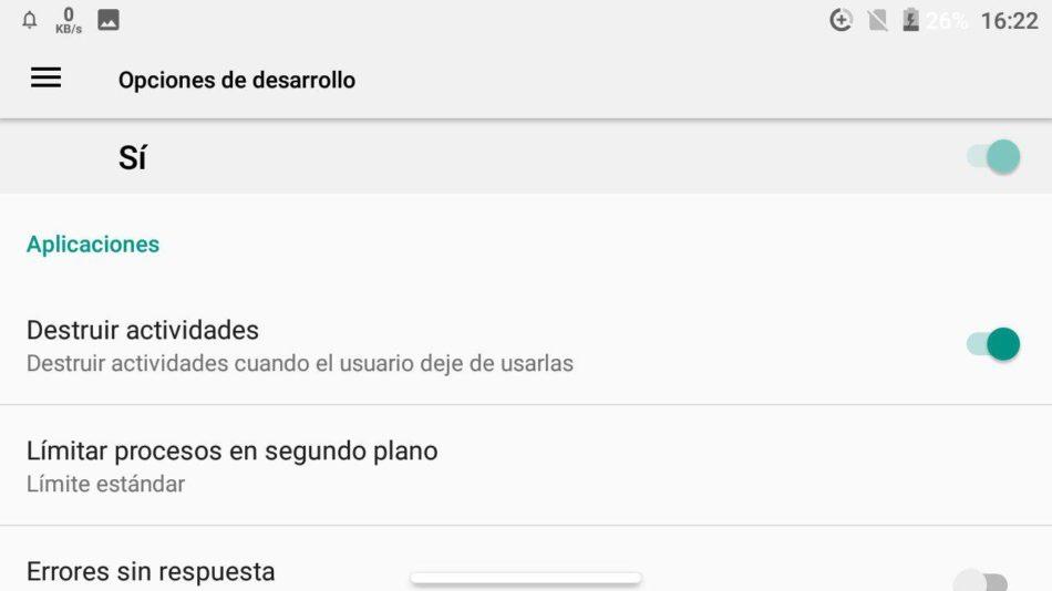 opciones de desarrollo android 5