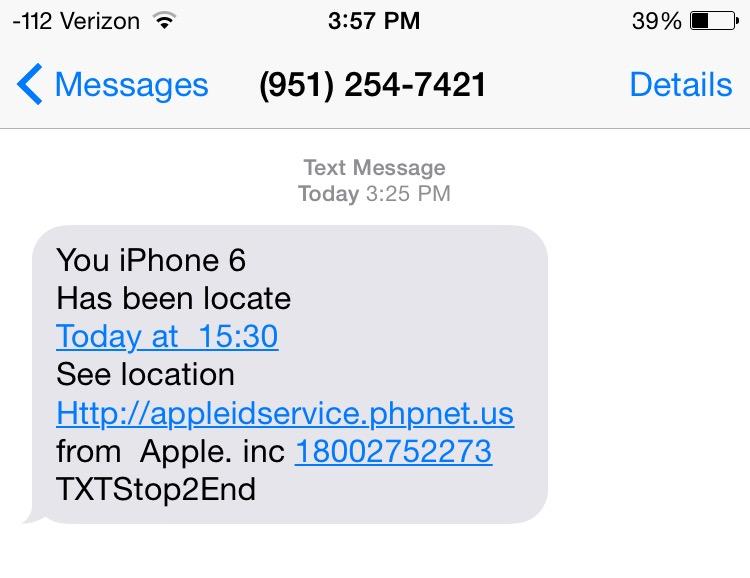sms falsos de icloud