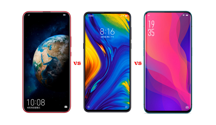 Honor Magic 2 vs Xiaomi Mi Mix 3 vs Oppo Find X, 3 móviles con pantalla deslizante