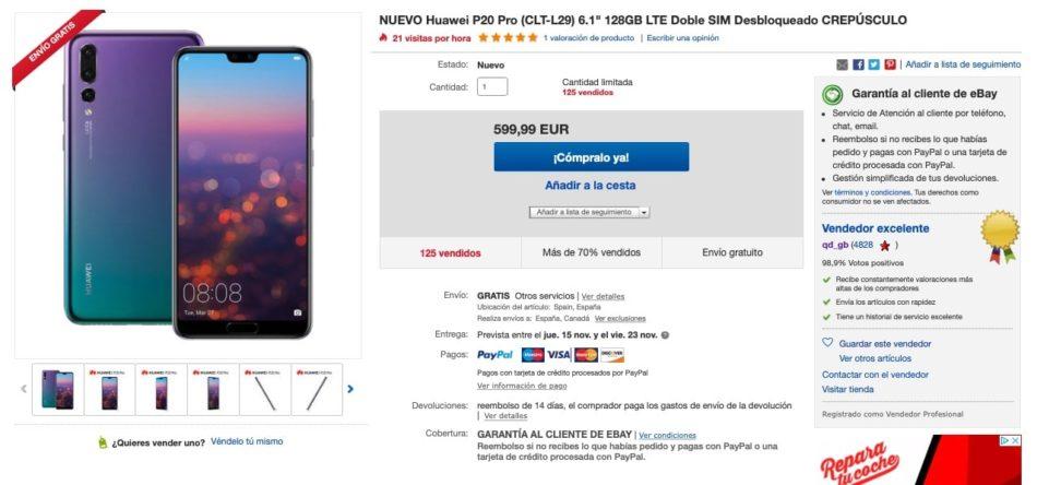 oferta del huawei p20 pro en ebay-min