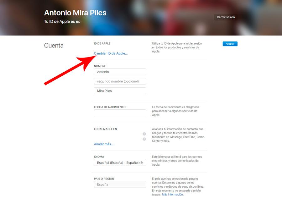 cómo cambiar la cuenta de correo electrónico de tu ID de Apple segundo paso