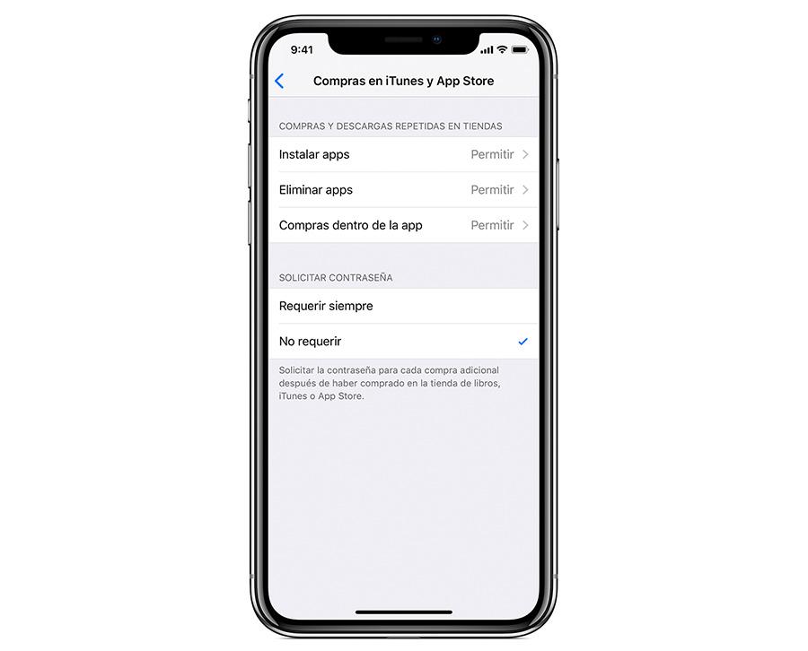 cómo configurar control parental iPhone u iPad compras