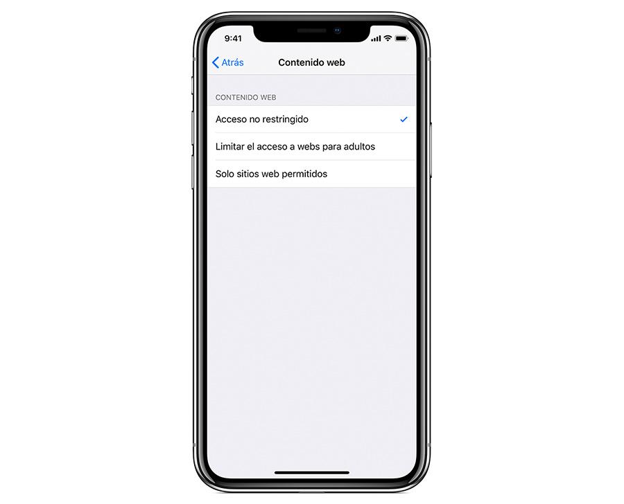 cómo configurar control parental iPhone o iPad contenido web
