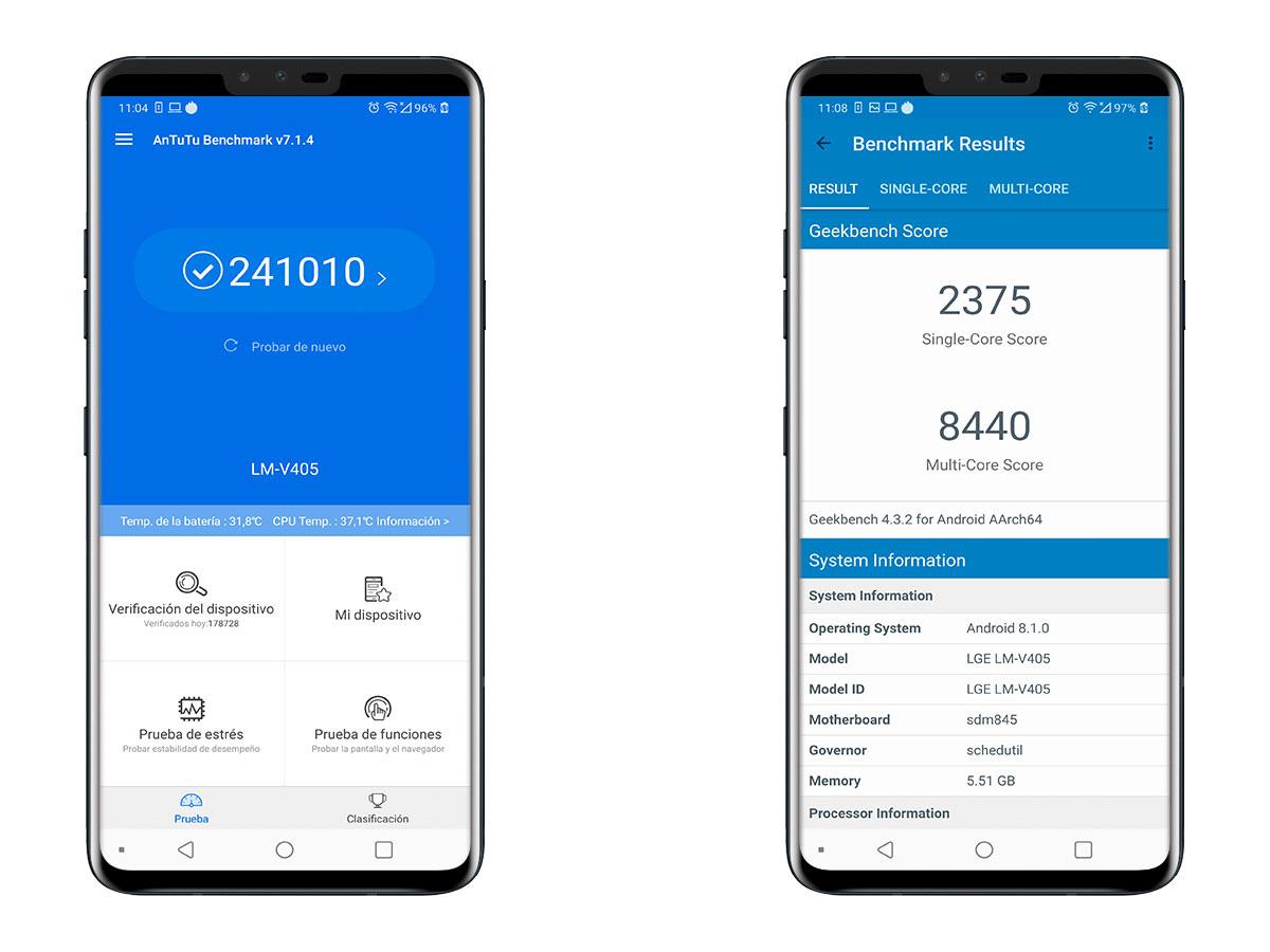 comparativa LG V40 ThinQ vs Huawei Mate 20 Pro test de rendimiento V40