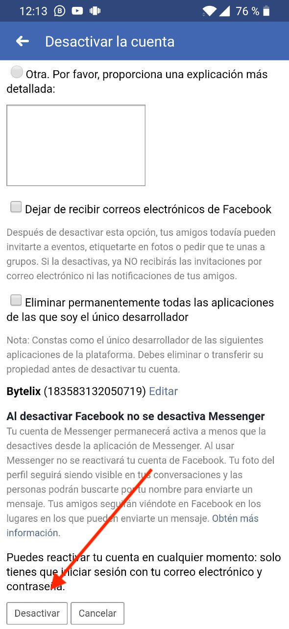 desactivar cuenta facebook 2019