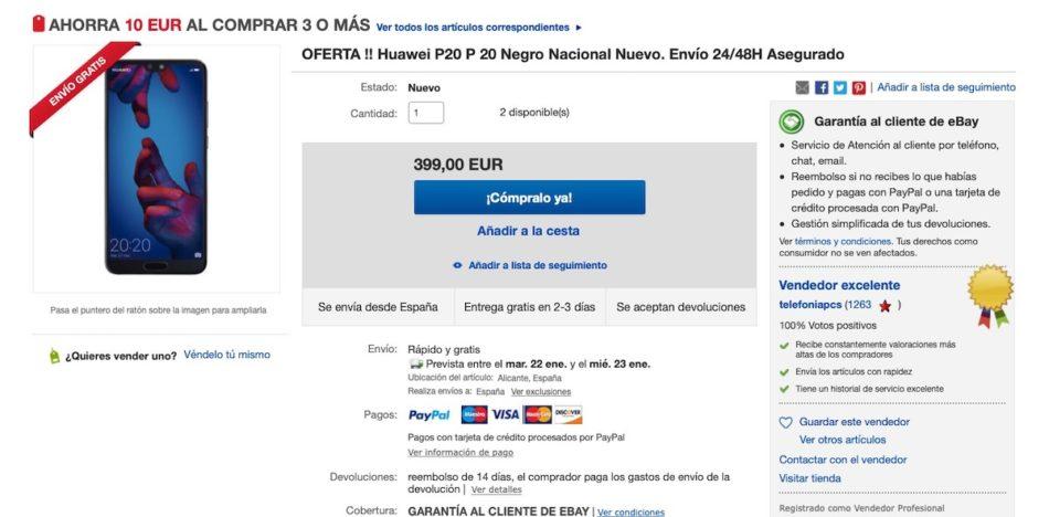 huawei p20 precio ebay