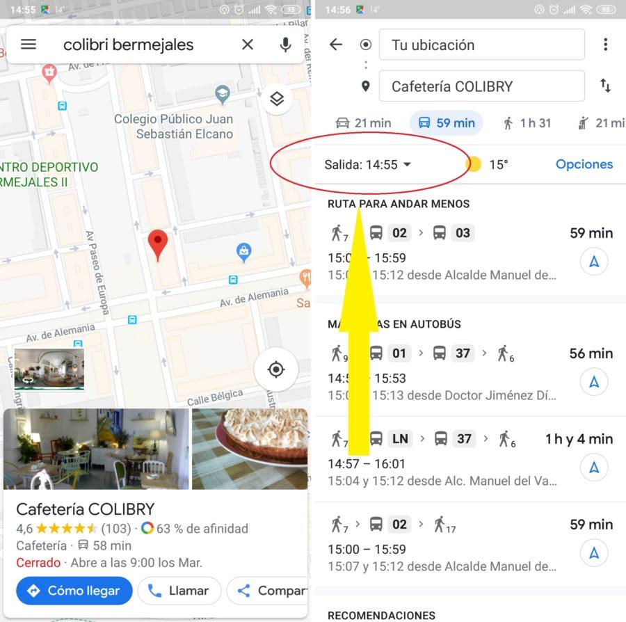 salida google maps