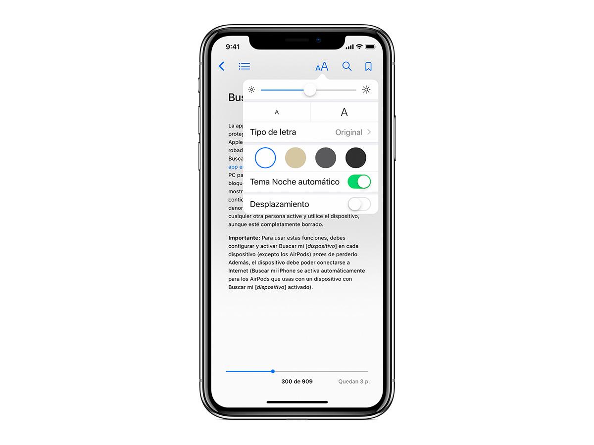 cómo activar el modo oscuro en la app Libros para iPhone y iPad colores