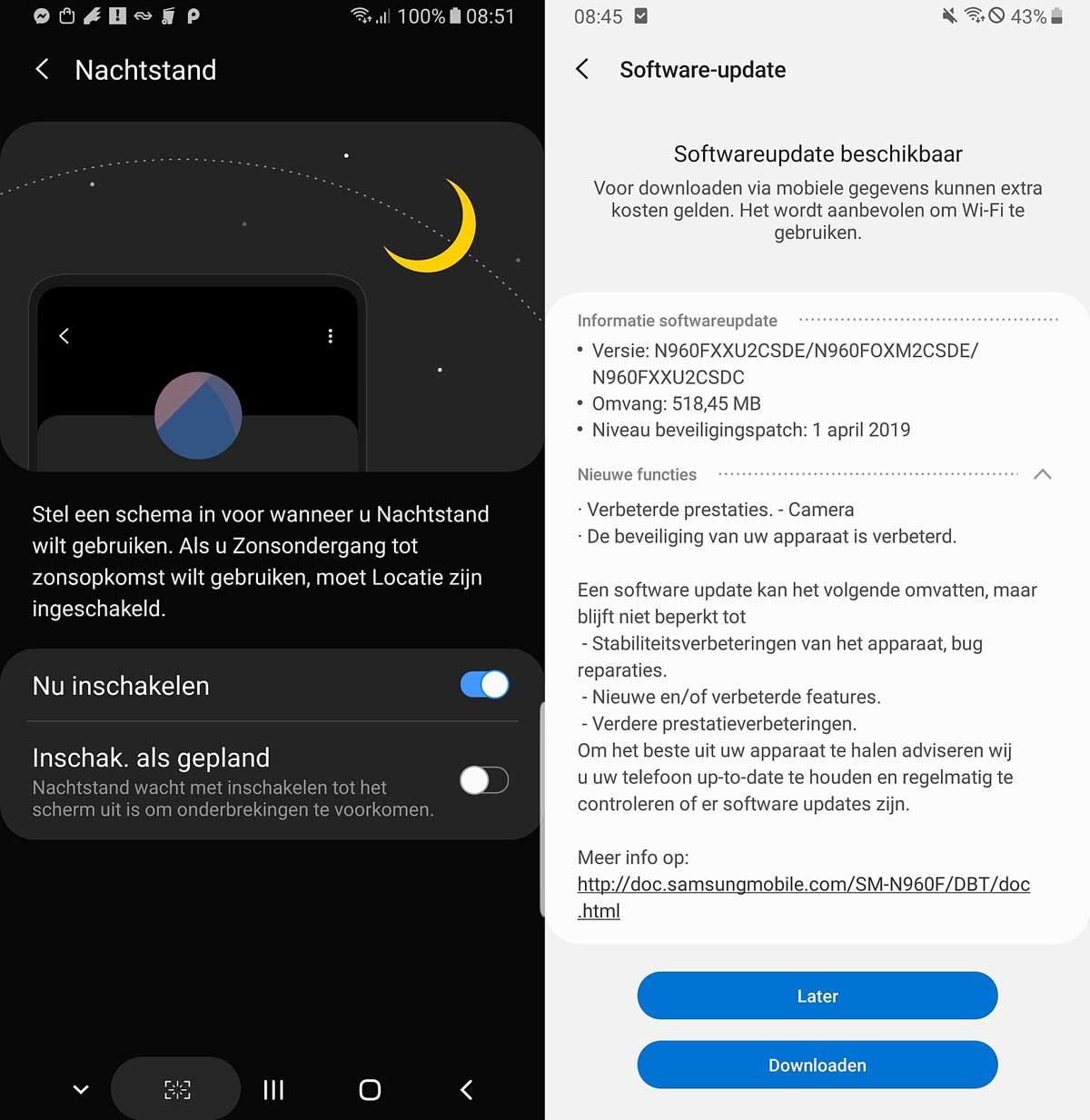 actualización abril 2019 Samsung Galaxy Note 9 sistema