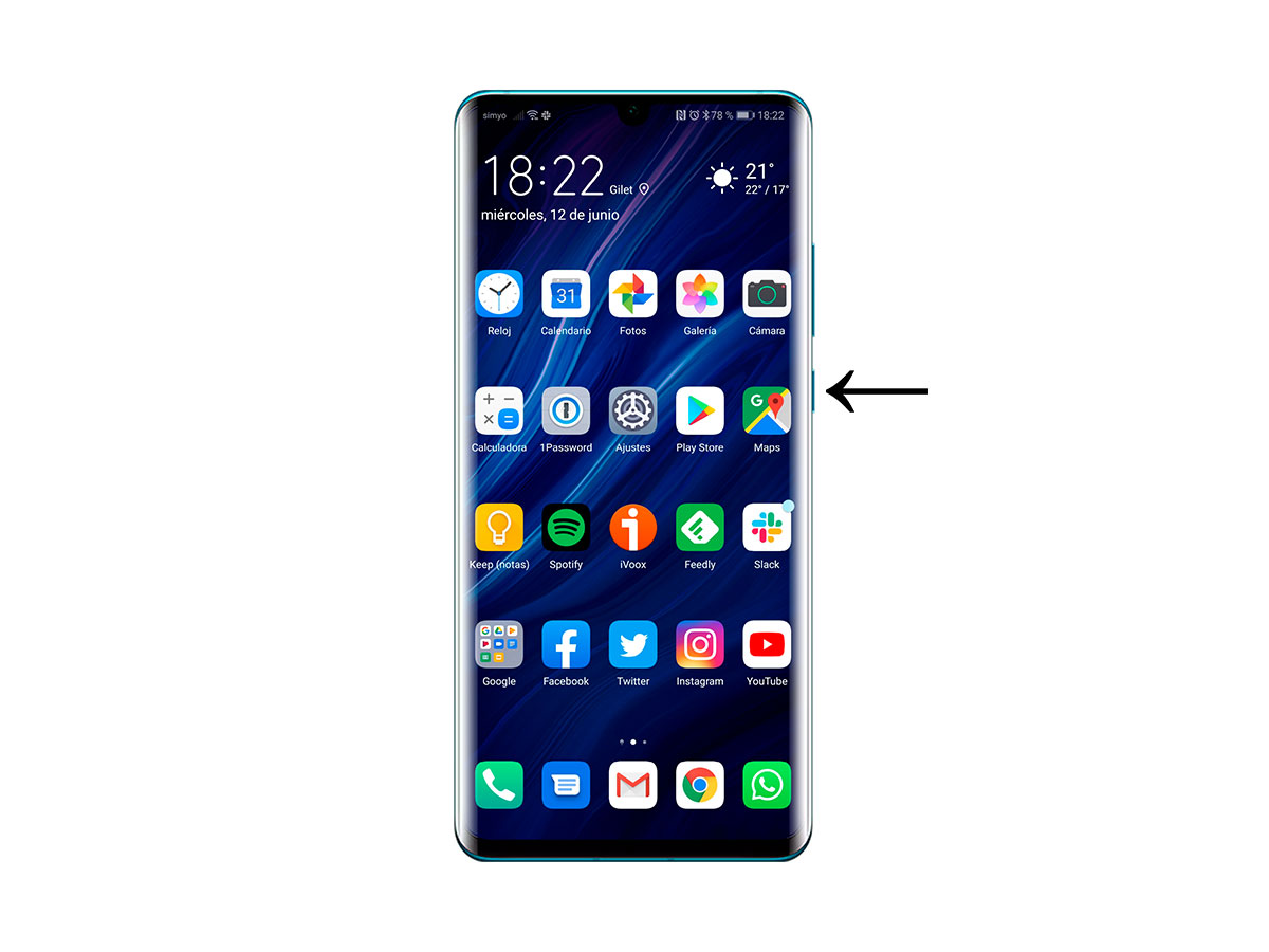 cómo forzar el reinicio del Huawei P30, P30 Pro y P30 Lite pulsando 10 seg
