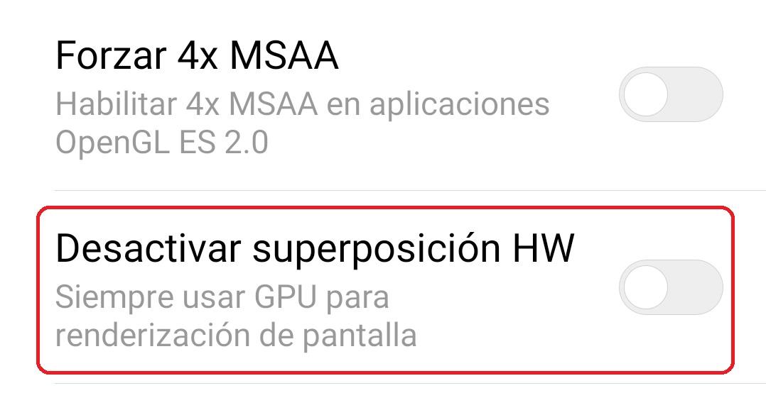 desactivar superposicion hw