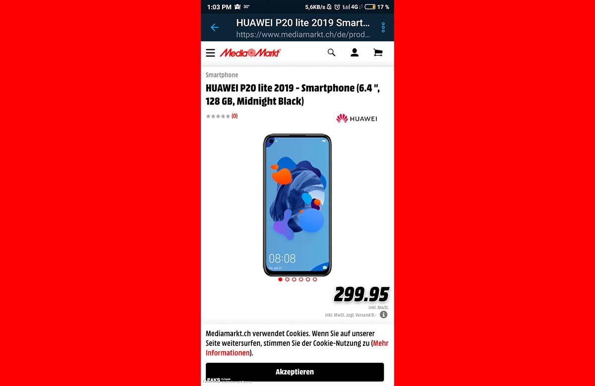 precio huawei p20 lite 2019