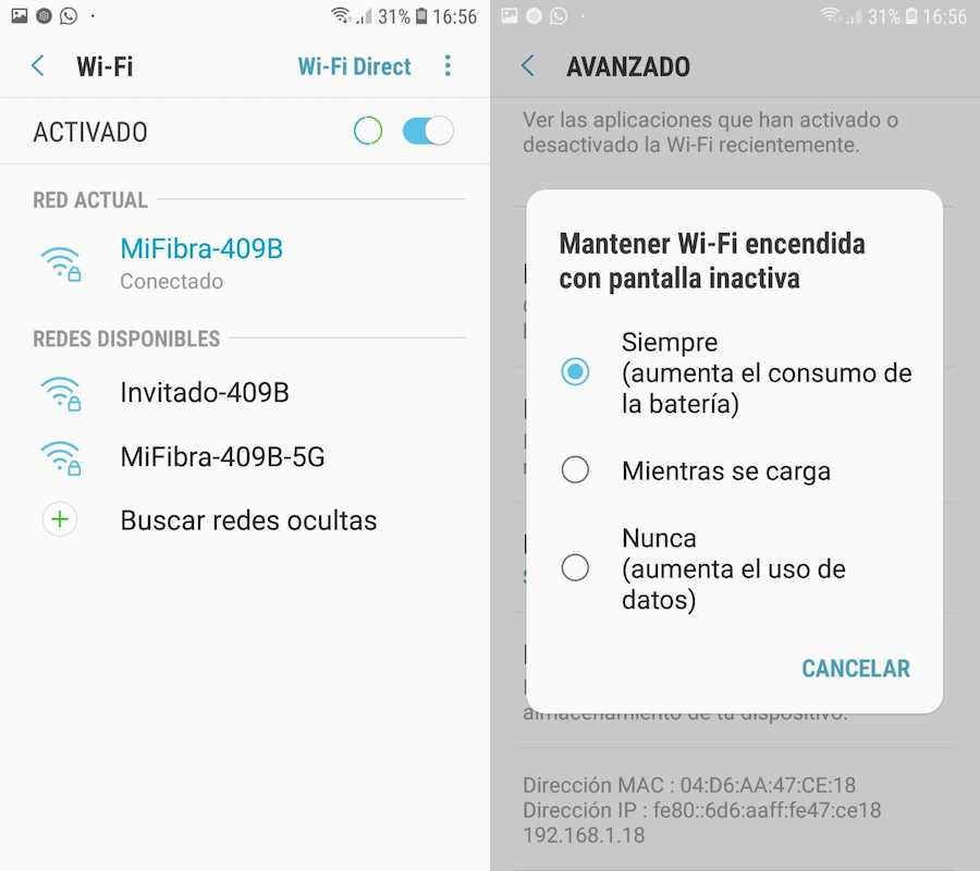 wifi se desconecta samsung galaxy s