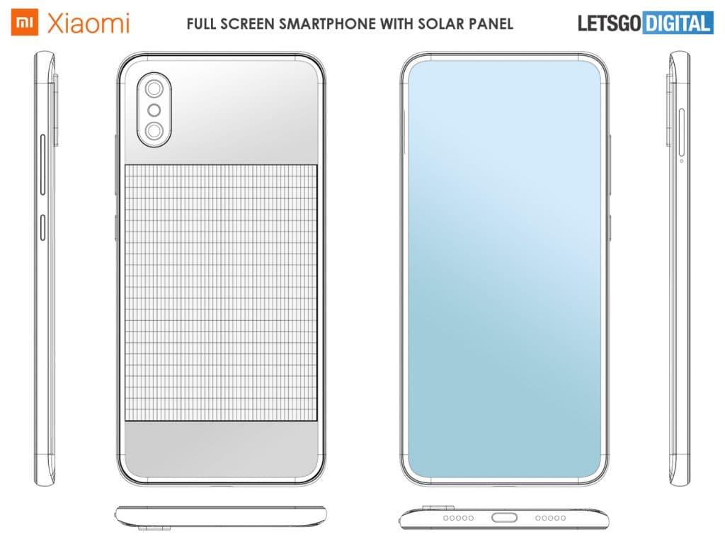 Xiaomi patenta un diseño de móvil con un panel solar en la trasera